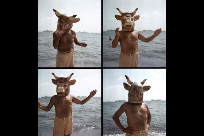 Пабло в маске коровы на берегу моря.  Автор фото: Gjon Mili.