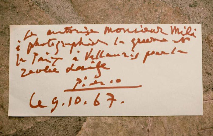 Записка для Гийона Мили от Пабло Пикассо.