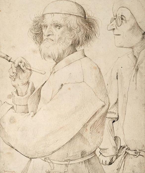 Рисунок «Художник и знаток», автопортрет, ок. 1565—1568 гг.