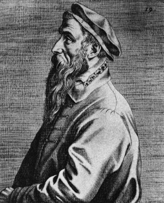 Портрет Брейгеля работы Доминика Лампсония, 1572 год.