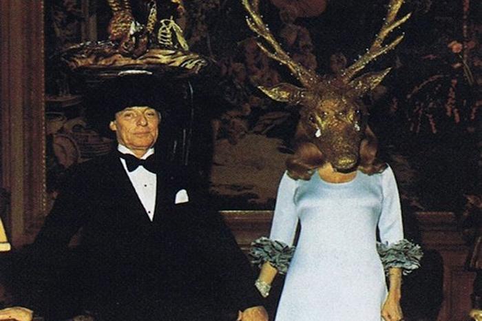 Мари-Элен де-Ротшильд в маске рогатого оленя, украшенной настоящими бриллиантами.
