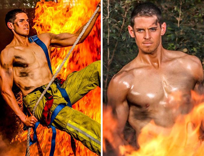 Благодаря отличной физической форме, Сэм стал моделью для благотворительного календаря пожарных.
