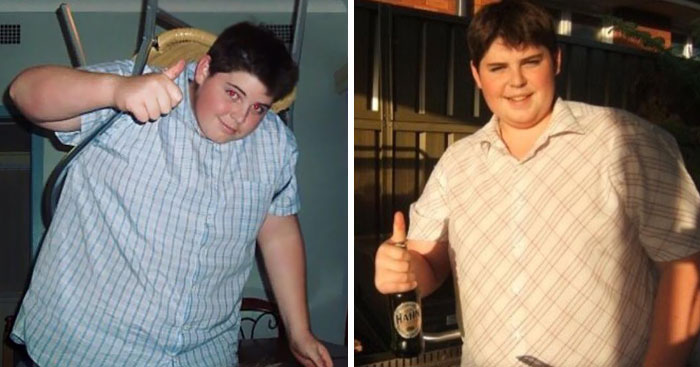 Сэм в начале похудения.