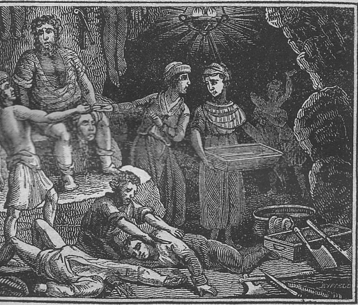 Рисунок, изображающий семью Соуни Бина, разделывающую своих жертв.