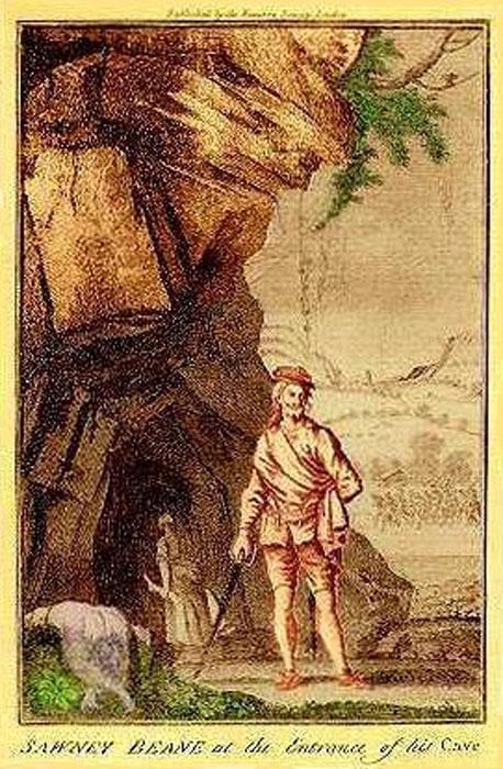Рисунок, изображающий Соуни Бина и его жену у входа в свою пещеру.