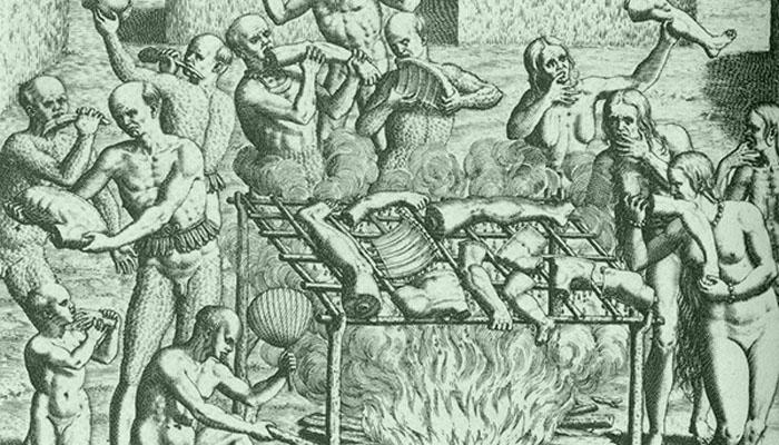 Рисунок, изображающий семью Бина за ужином.