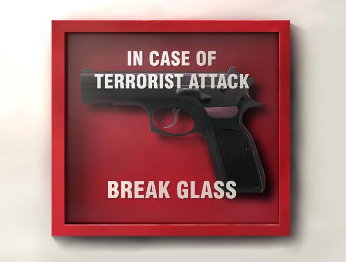 Разбить стекло в случае атаки террористов. Автор: Sebastian Pytka.