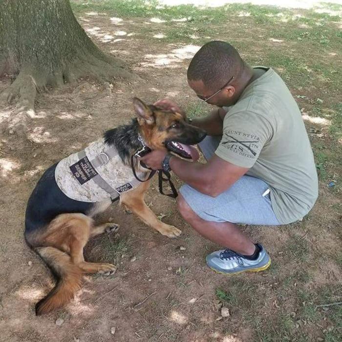 Ветеран со своей собакой-компаньоном.