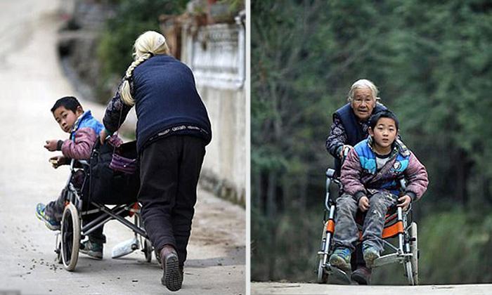 Вот уже четыре года бабушка Ши каждый день возит внука в школу за три километра от дома.