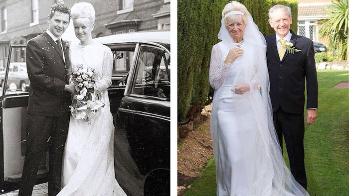 Кэрол-Энн и Джим Стэнфилд в 1966 и 2016 годах.