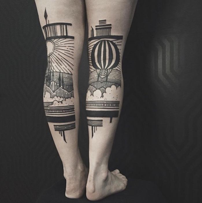 Татуировки, имитирующие гравюру.