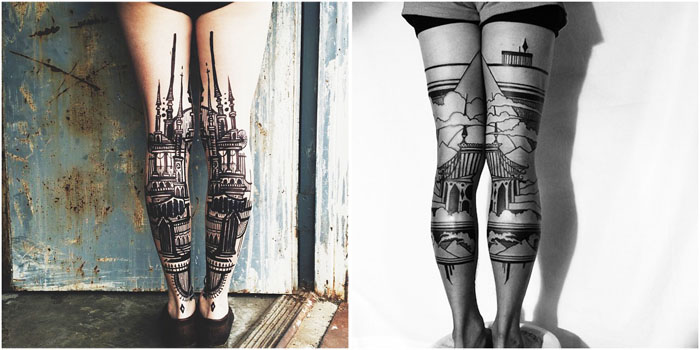 Диптих татуировок позади коленок от Thieves of Tower.