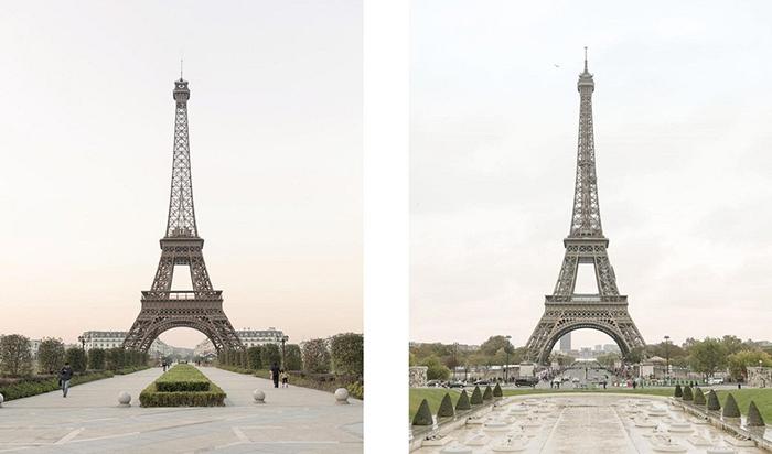 Эйфелева башня в Париже и Тьяндученге.  Фото: Francois Prost.