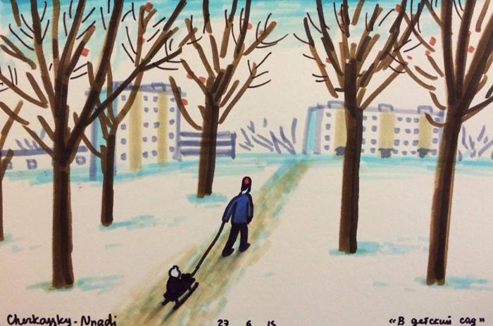 *В детский сад*. Автор: Zoya Cherkassky-Nnadi.