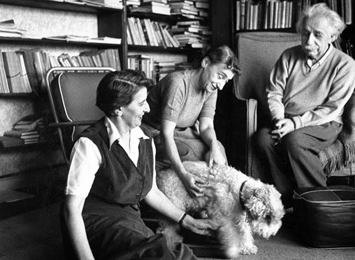 14-летний слепой терьер Шико в руках секретарши и приемной дочери Марго, которая вела домашнее хозяйство в доме Эйнштейна.