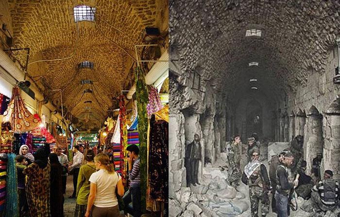 Алеппо до и после начала войны.