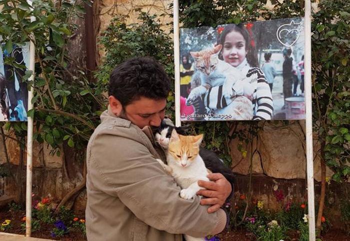 Мохаммед держит своего кота Эрнесто и кота из приюта Спаркса.