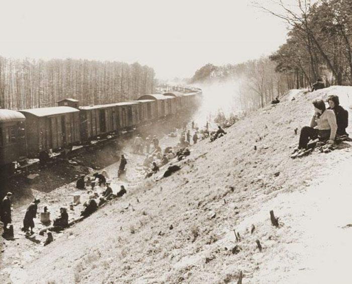 Один из поездов, следующий из Берген-Бельзен в Терезиенштадт, освобожденный американскими войсками.