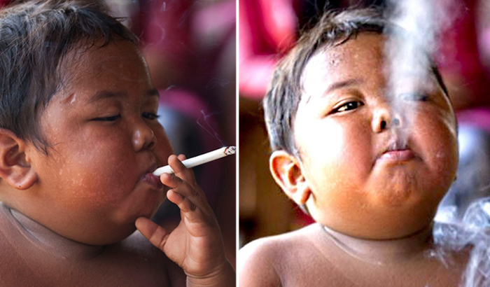 Арди Ризал, малыш, который выкуривал по 40 сигарет в день.