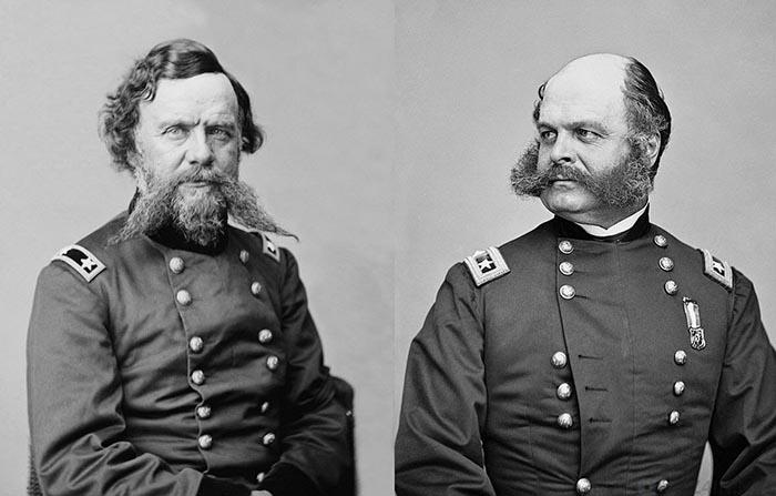 Генерал-майор Уинфилд Скотт Хэнкок (слева) и генерал-майор Эмброуз Бернсайд (справа) щеголяли эффектными усами и бакенбардами во время Гражданской войны в США.
