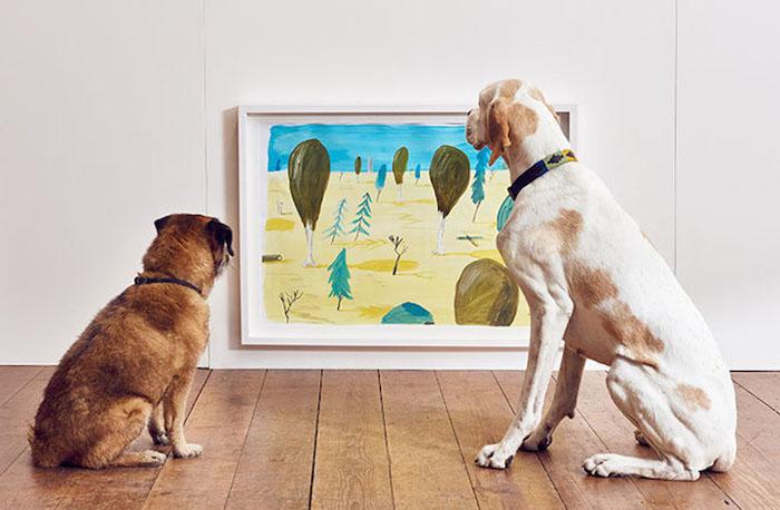 Собаки разглядывают картины, выполненные в желто-синих цветах.