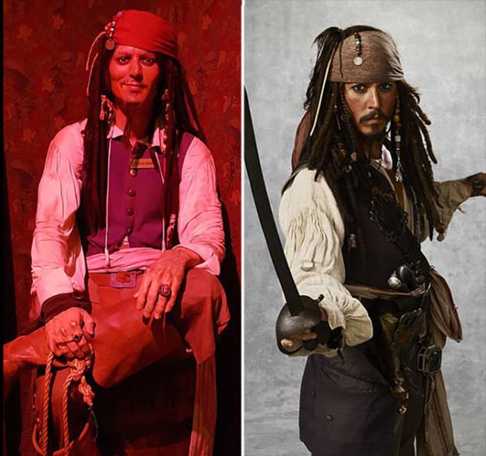 Капитан Джек Воробей в исполнении Джонни Деппа.
