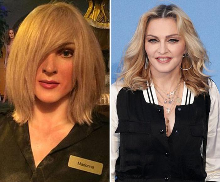 Видимо, пытаясь замаскировать непохожесть статуи на Мадонну, ей решили надеть парик, закрывающий пол-лица.