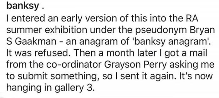Сообщение, которым художник сопроводил свою работу в Instagram.