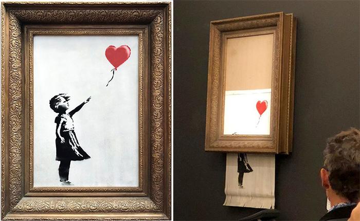 Британский Ñудожник Бэнкси испортил свою картину после того, как ее продали на аукционе.