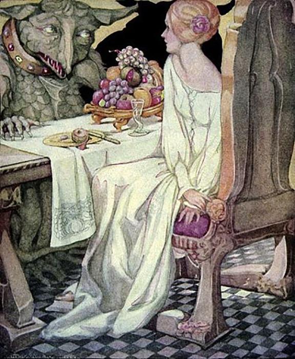 Красавица обедает с Чудовищем, иллюстрация Анны Андерсон.