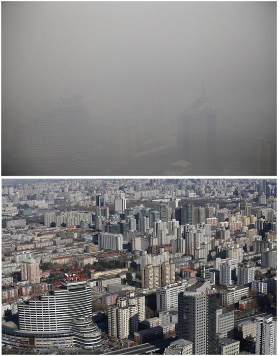 Фото в ясную погоду сделано 19 декабря 2014, фото со смогом - 15 января 2015г.
