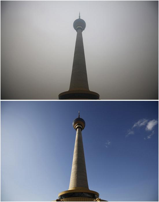 Ясная погода 19 декабря 2014, загрязненный воздух - 15 января 2015г.