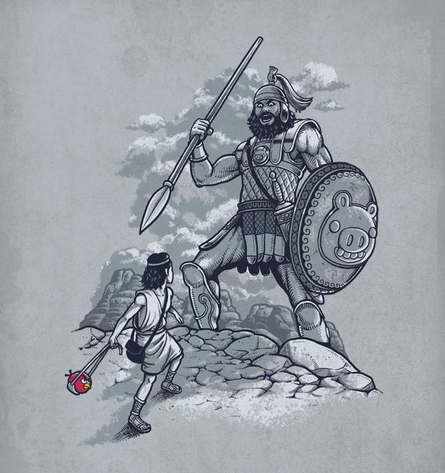 Давид, Голиаф и неожиданное оружие на иллюстрации Бена Чена.