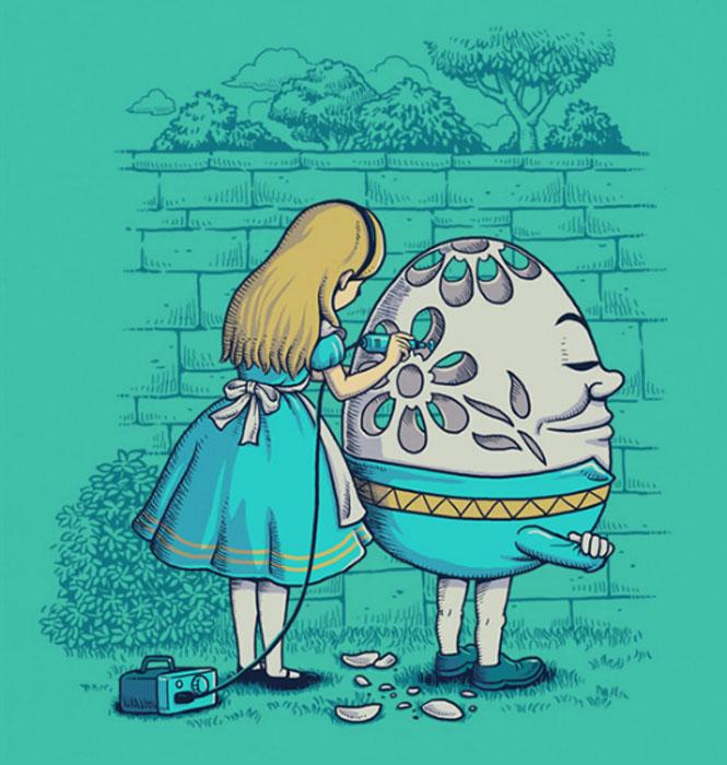 Алиса в Стране Чудес занимается карвингом по телу Шалтая-Болтая.
