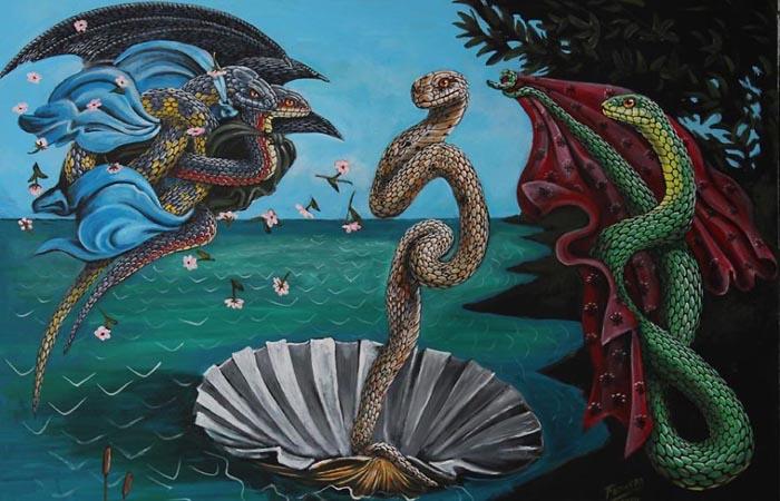 *Рождение змеиной Венеры* по мотивам картины Ботичелли.