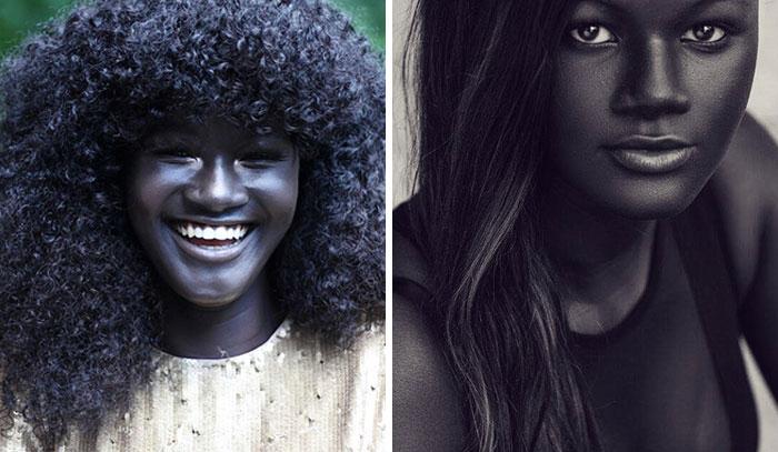Девушка-модель с угольно-черным оттенком кожи.