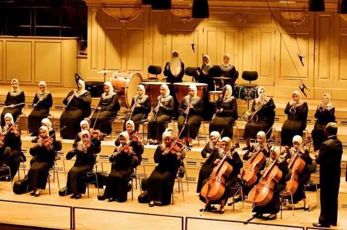 Египетский оркестр, состоящий из слепых музыкантов.