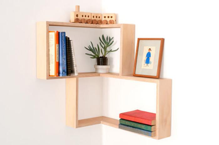 книжные угловые полки на стену фото