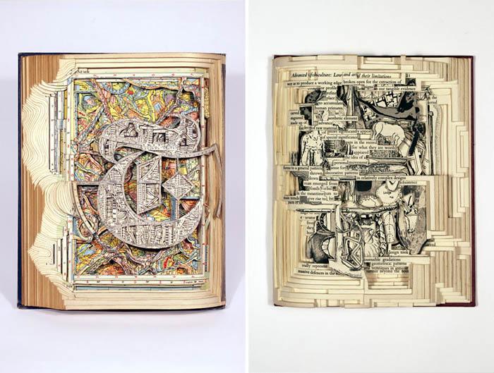 Работы Брайана Деттмера выполнены в жанре резьбы по книгам.