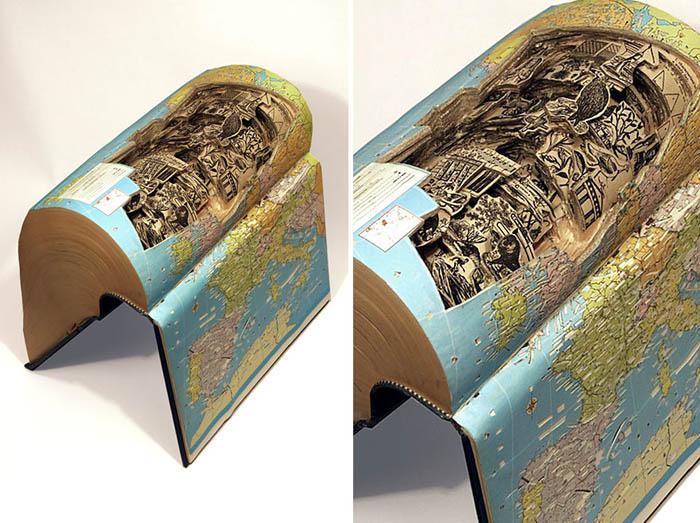 Америанский художник работает с толстыми винтажными изданиями.