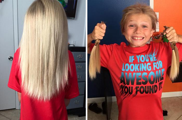 Восьмилетний мальчик пожертвовал свои волосы.
