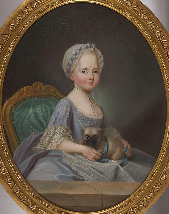 Мадам Элизабет (сестра Людовика XVI) с мопсом, Ф. Ю. Друэ, в 1770 году.