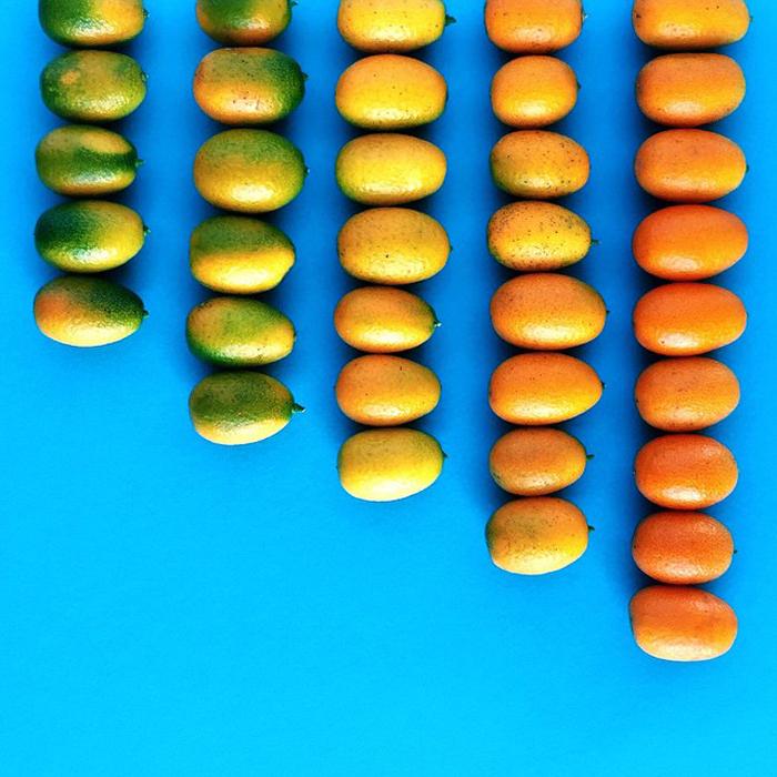 От зеленого к оранжевому.