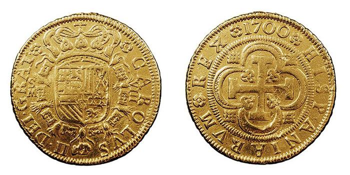 Монета, выпущенная после смерти Карла II.