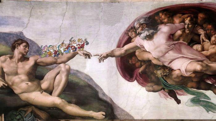Микеланджело *Сотворение Адама*,