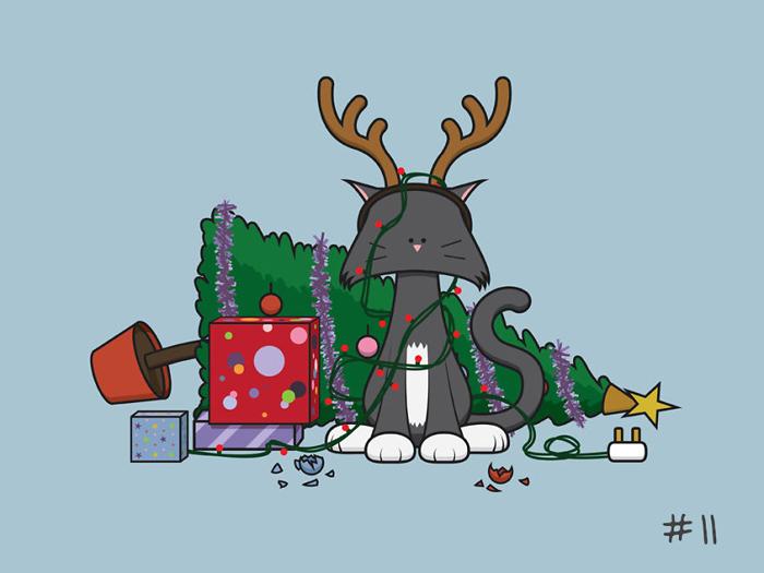 Котики на Новый Год и Рождество.