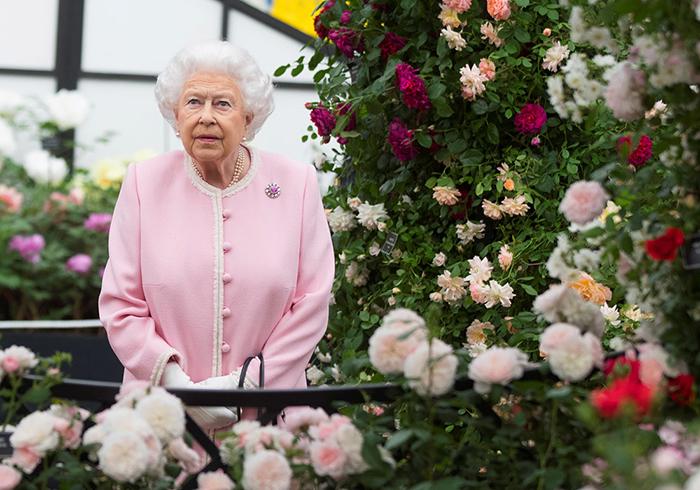 Королева Елизавета II на цветочном шоу.