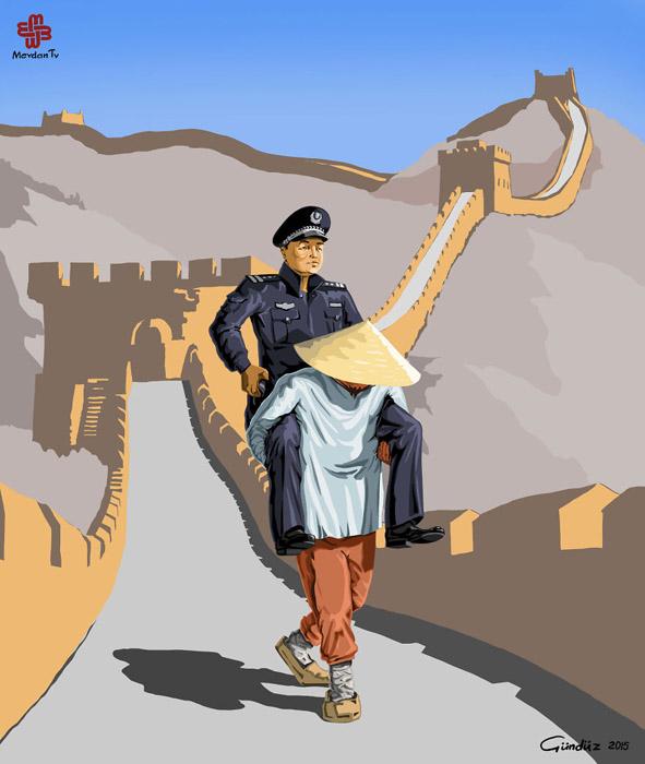Гундуз Агаев обыграл в своей иллюстрации дешевую рабочую силу в Китае.