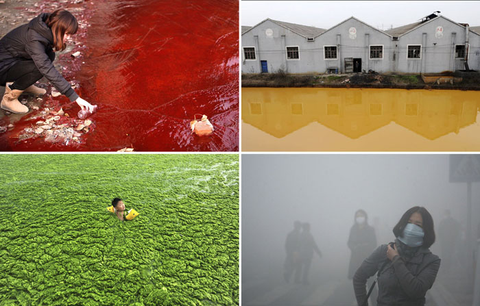 Жуткое загрязнение окружающей среды в Китае.