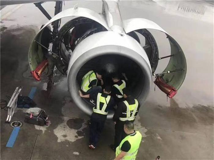 Тщательный осмотр турбины самолета.